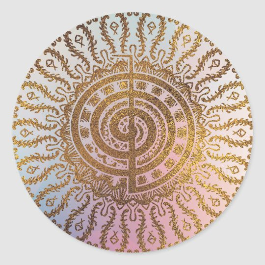 Gentle Pastel and Gold Choku Rei Symbol in Mandala Classic Round Sticker