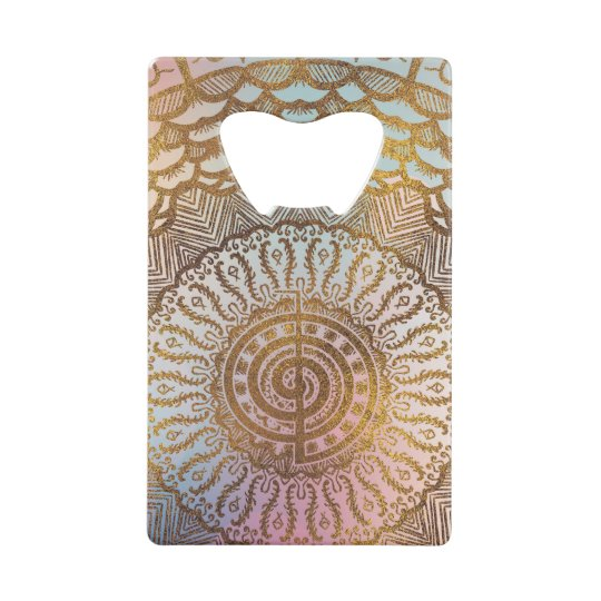 Gentle Pastel and Gold Choku Rei Symbol in Mandala Credit Card Bottle Opener