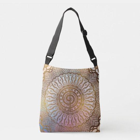 Gentle Pastel and Gold Choku Rei Symbol in Mandala Crossbody Bag