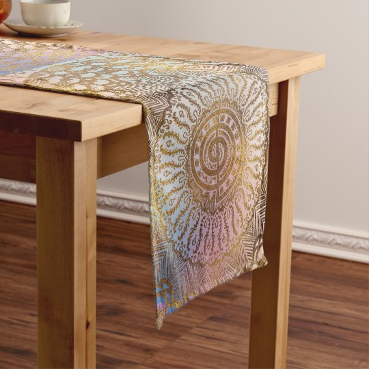 Gentle Pastel and Gold Choku Rei Symbol in Mandala Short Table Runner