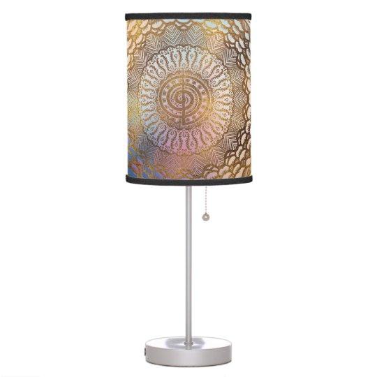 Gentle Pastel and Gold Choku Rei Symbol in Mandala Table Lamp