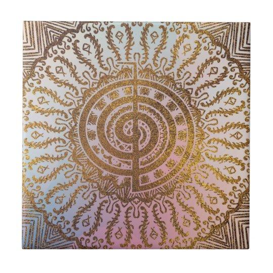 Gentle Pastel and Gold Choku Rei Symbol in Mandala Tile