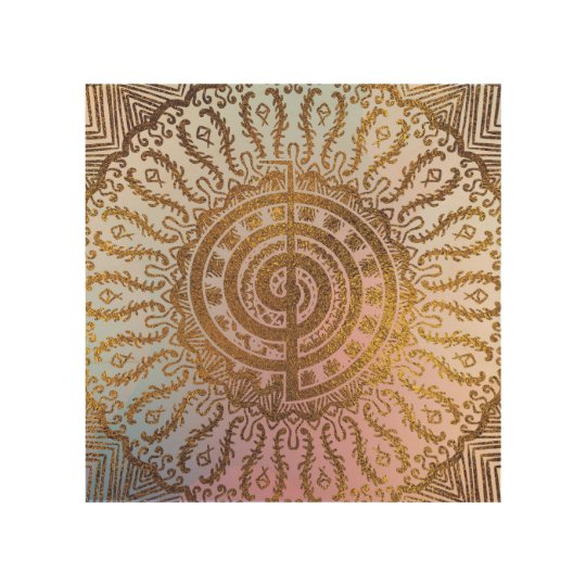 Gentle Pastel and Gold Choku Rei Symbol in Mandala Wood Wall Decor
