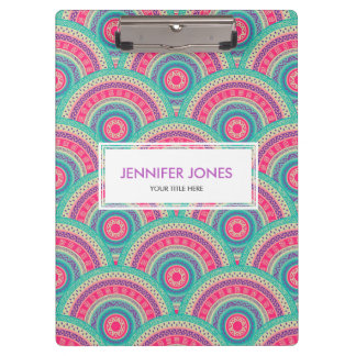 Gentle Pastel Colored Tribal Circular Pattern Clipboard