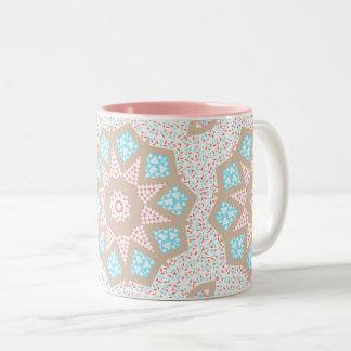 Gentle Pink & Blue Kaleidoscope Two-Tone Coffee Mug
