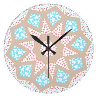 Gentle Pink & Blue Kaleidoscope Wallclock
