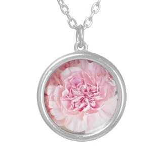 Gentle pink peony flower bloom petals closeup silver plated necklace