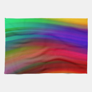 Gentle Rainbow Waves Abstract Kitchen Towel