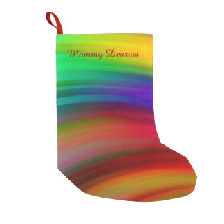 Gentle Rainbow Waves Abstract Small Christmas Stocking