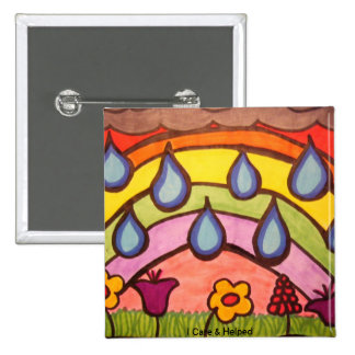 Gentle Raindrops 2 Inch Square Button