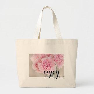 Gentle soft pink peony flower petals closeup large tote bag