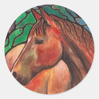 Gentle Spirit Horse Stained Glass Mosaic Art Classic Round Sticker