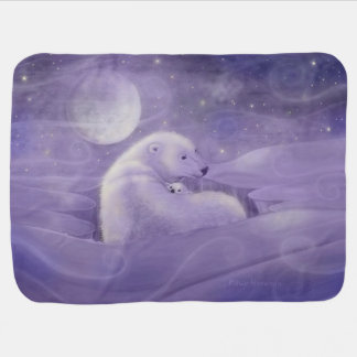 Gentle Winter Polar Bear and Cub Baby Blanket