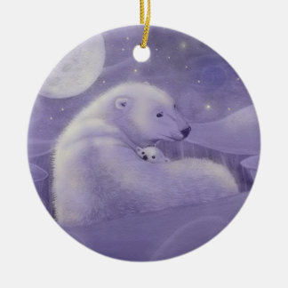 Gentle Winter Polar Bear and Cub Ornament