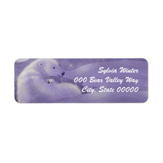 Gentle Winter Polar Bears Return Address Labels