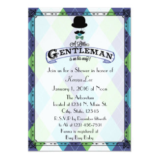 Gentleman Baby Shower Argyle Card