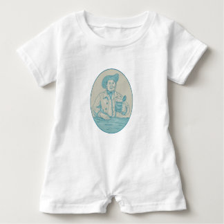 Gentleman Beer Drinker Tankard Oval Drawing Baby Romper