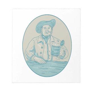 Gentleman Beer Drinker Tankard Oval Drawing Notepad
