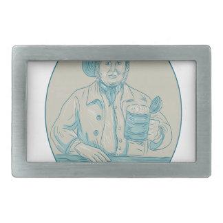 Gentleman Beer Drinker Tankard Oval Drawing Rectangular Belt Buckle