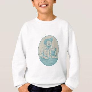 Gentleman Beer Drinker Tankard Oval Drawing Sweatshirt