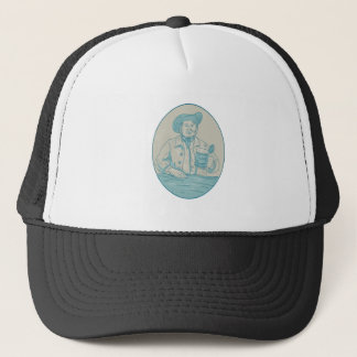 Gentleman Beer Drinker Tankard Oval Drawing Trucker Hat