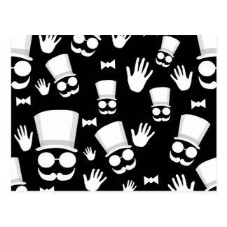 Gentleman - black and white pattern postcard