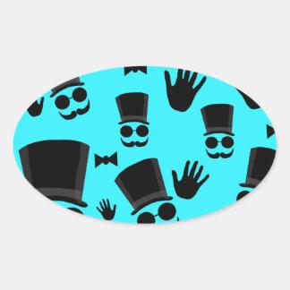 Gentleman - cyan pattern oval sticker