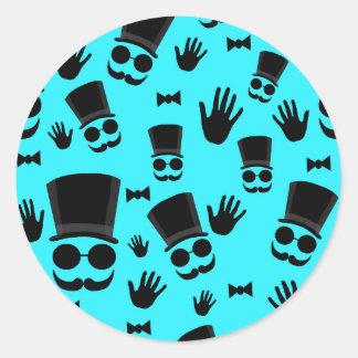 Gentleman - cyan pattern round sticker