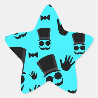 Gentleman - cyan pattern star sticker