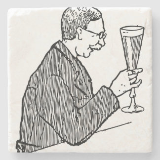 Gentleman Drinking Beer Vintage Illustration Stone Coaster