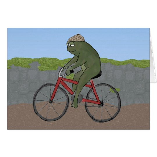 Gentleman Frog on a Bicycle Note Card