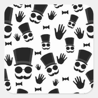 Gentleman pattern square sticker