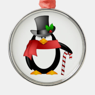 Gentleman Penguin with Top Hat Candy Cane Ornament