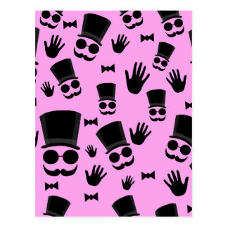 Gentleman - pink pattern postcard