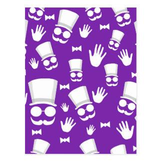 Gentleman - purple pattern postcard