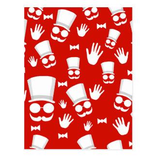 Gentleman - red pattern postcard