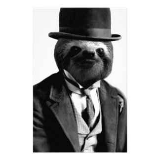 Gentleman Sloth #2 Personalized Stationery