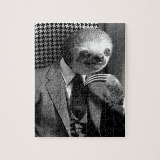 Gentleman Sloth sitting in Fancy Chair Jigsaw Puzzle
