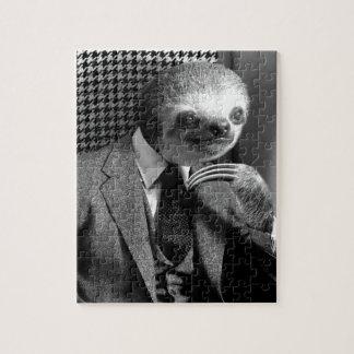 Gentleman Sloth sitting in Fancy Chair Jigsaw Puzzle