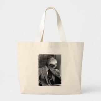 Gentleman Sloth sitting in Fancy Chair Large Tote Bag