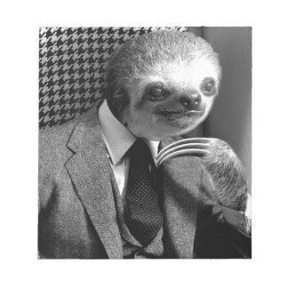 Gentleman Sloth sitting in Fancy Chair Notepad