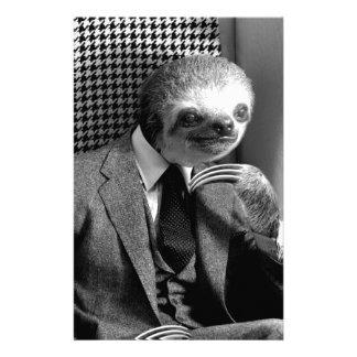 Gentleman Sloth sitting in Fancy Chair Stationery