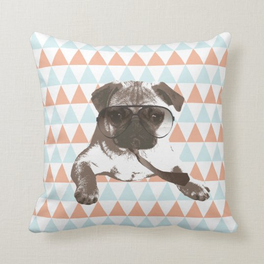 Gentleman Style Pug Colourful Triangle Pattern Throw Pillow