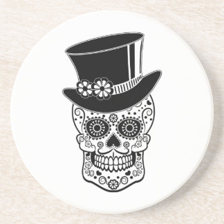 Gentleman Sugar Skull-01 Beverage Coaster