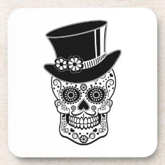 Gentleman Sugar Skull-01 Beverage Coasters