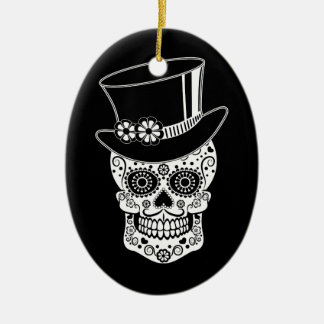 Gentleman Sugar Skull-01 Ceramic Oval Ornament