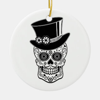 Gentleman Sugar Skull-01 Round Ceramic Ornament
