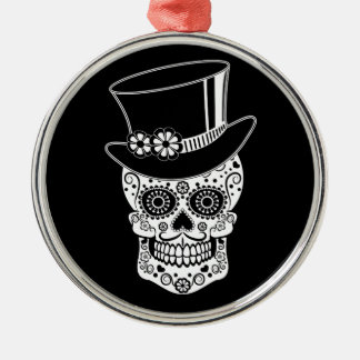Gentleman Sugar Skull-01 Silver-Colored Round Ornament