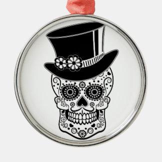 Gentleman Sugar Skull-01 Silver-Colored Round Ornament