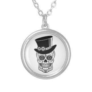 Gentleman Sugar Skull-01 Silver Plated Necklace